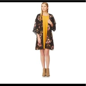 WallFlower Solid Swing Dress & Printed Kimono Set